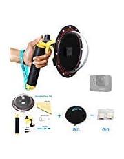 TELESIN 15,2 cm Underwater T05 Dome Port objectif plongée Photography Dome Port pour la caméra GoPro Hero 5 Noir (T05 Dome Port, Jaune)