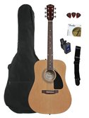 Fender FA-100 Dreadnought Acoustic Guitar Bundle with Gig Bag, Tuner, Strap, Picks, Strings - Natural