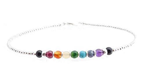 DAMALI 925 Silver Chakra Bracelet, Stackable 7 Stone Chakra Jewelry, Genuine 4MM Gemstone Crystal Healing Meditation Reiki Yoga Mala