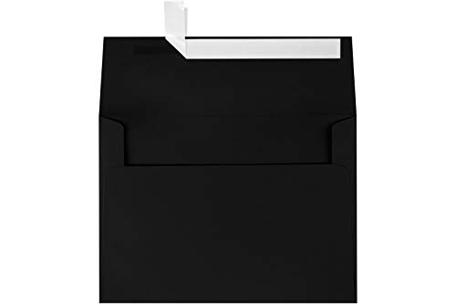 (LUXPaper A7 Invitation Envelopes for 5 x 7 Cards in 80 lb. Midnight Black, Printable Envelopes for Invitations, w/Peel and Press Seal, 50 Pack, Envelope Size 5 1/4 x 7 1/4 (Black))