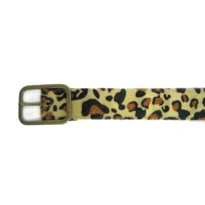 "1 1/2"" Women's Gold Toned Plain Buckle on Quality Leopard Print Belt Strap"