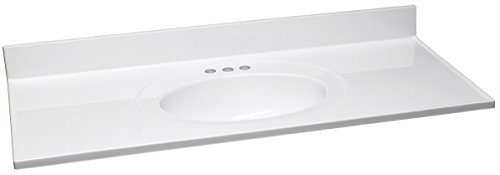 Design House 551390 49-Inch by 22-Inch Marble Vanity Top/Single Bowl, Solid White