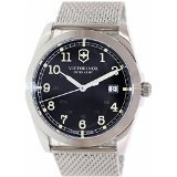 Victorinox Swiss Army Infantry Black Dial Woven SS Quartz Men's Watch 241585