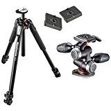 Manfrotto MT055XPRO3 Aluminium 3-Section Tripod Kit w/ MHXPRO3W X-PRO 3-Way Head w/Retractable Levers and Friction Controls w/ Two Replacement Quick Release Plates for the RC2 Rapid Connect Adapter by Manfrotto