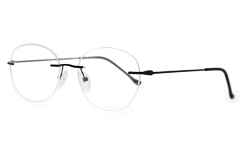 Discount Rimless Eyeglasses - SmartBuy Collection Rubby Men's Prescription Eyeglass Frames - Rimless Round Designer Glasses Frame - Rubby Black