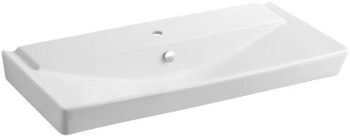 KOHLER K-5026-1-HW1 Reve 39-Inch Bathroom Sink, Honed White (White Hw1 Honed Vessels)