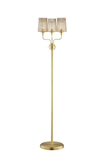 Champagne Ribbed - Catalina Lighting  20621-001 Lucinda Floor Lamp with Champagne Finish and Iridescent Ribbed Glass Shades, Bulbs Included