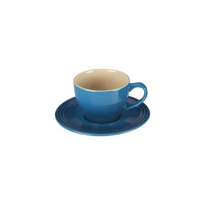 Le Creuset Stoneware Set of 2 Cappuccino Cups and Saucers, Marseille (2 Cup Saucer Sets)