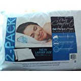 2 Pure Comfort Gel Memory Foam Classic Pillows Large Size 20'' x 26'' - Machine Washable Cover