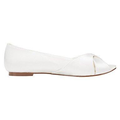 Cómodo y elegante soporte de zapatos de las mujeres pisos de primavera/verano otros Stretch satén boda/fiesta y tarde/vestido soporte de talón otros marfil/blanco otros beige