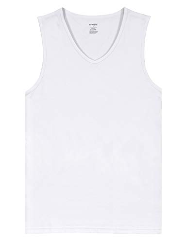 Indefini Men's Sleeveless V-Neck Undershirts Fitted Tank Tops Cotton Shirts, 1 Pack of White - S