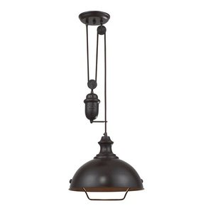 Elk 65071-1 14-Inch Farmhouse 1-Light Pendant, Oiled Bronze from ELK