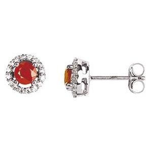 So Chic Bijoux © Boucles d'oreilles Femme Puces Rubis Rouge & Oxyde de Zirconium Or Blanc 750/000 (18 carats)