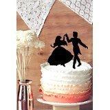 Bride and Groom dancing wedding cake topper