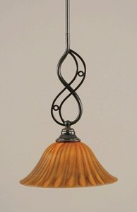 Mini Pendant w 10 in. Tiger Glass Shade by Toltec Lighting