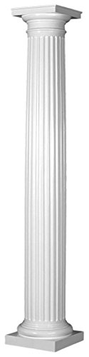 Endura-Stone Round Tapered Fluted Column (FRP), Smooth Paint-Grade, Tuscan Capital & Base, 8