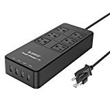 ORICO 6 Outlet Power Strip with Surge Protector, Built-in 5 Ft. Cord, 4 Super Chargers (2×5V2.4A+2×5V1A 34W) for iPhone, iPad, Samsung Galaxy S6 / S6 Edge, Nexus, HTC M9, Motorola, LG and More - Black (TPC-6A4U)