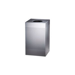 Rubbermaid Commercial Silhouette Designer Wastebasket, Square Open Top, 40-Gallon, Stainless Steel (FGSC18SSRB)