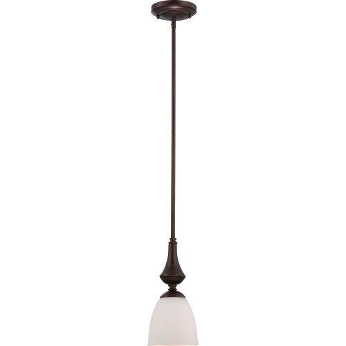 Nuvo Lighting 60 5137 Patton One Light Mini-Pendant 100 Watt A19 Max. Frosted Glass Prairie Bronze Fixture