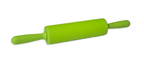 L-Gourmet - Silicone Rolling Pin - Non-stick, Easy Roll Kitchen Dough Roller - 18.25-inch Professional Rolling Pin (Green)