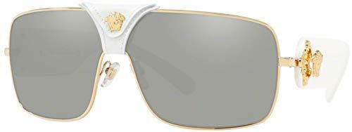 Versace Women's VE2207Q Gold/Medusa/White Leather/Light Grey Mirror Silver One Size (Versace Für Mädchen)