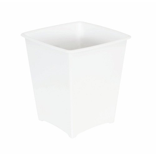 - Rubbermaid FG238200WHT Square Vanity Waste Basket, 2-Gallon, White