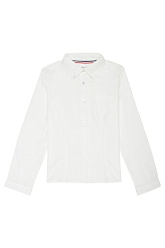 Long Sleeve Two Button Oxford Shirt (French Toast Little Girls' Long Sleeve Button Down Oxford With Darts, White, 6)