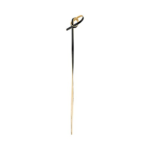 6-inch Black Bamboo Skewers - Twisted Knot: Perfect for Serving Appetizers and Cocktail Garnishes - 1000-CT - Disposable and Eco-Friendly - Restaurantware by Restaurantware (Image #1)
