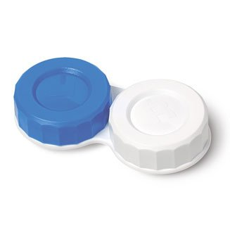 1 X (CE Approved) Standard Soaking Contact Lens Case Screw Top with L and R Caps (White Out Contact Lens)