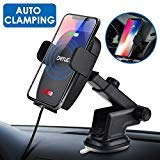 Qi Wireless Car Charger Mount,2019 Upgraded Infrared Auto Clamping Car Cell Phone Charger 7.5W 10W Power Wireless Fast Charger for iPhone XsMax/XS/XR/X/8/7,Samsung S10/S9/S8/Note9,Moto,HTC,LG (Black) by DETUOSI