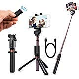 Selfie Stick Bluetooth, Extendable Aluminum Alloy Selfie Stick Tripod with Wireless Remote Monopod, Bonus Selfie Ring Light, Fits for iPhoneX/8/8P/7/7P/6sPlus, Galaxy S6/S8, Google, Huawei and More