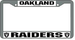 Oakland Raiders Chrome Silver License Plate Frame by Hall of Fame Memorabilia