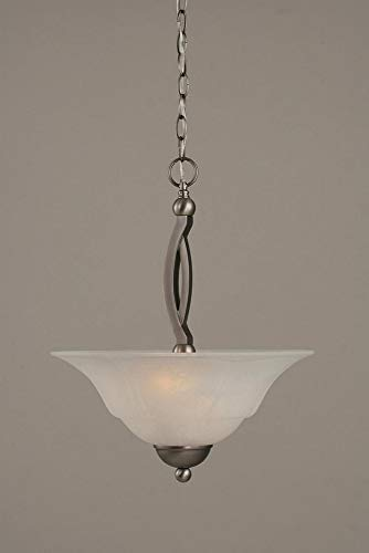 - Toltec Lighting 274-BN-53615 Bow Two-Bulb Uplight Pendant Brushed Nickel with White Marble Glass Shade, 16-Inch