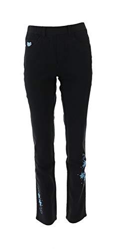 (Quacker Factory DreamJeannes Snowflake Straight Leg Pants Black XXS New)