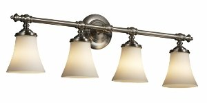 Ribbon Glass Shade (Justice Design FSN-8524-20-RBON-NCKL Tradition Four Light Bath Bar, Glass Options: RBON: Ribbon Glass Shade, Choose Finish: Brushed Nickel Finish, Choose Lamping Option: Standard Lamping)