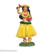 Dashboard Hula Doll Girl with Uliuli 6.5'' tall 40607 Boxed - hawaii dashboard dolls - Perfect gift or souvenir - assorted colors by KC Hawaii by KC Hawaii