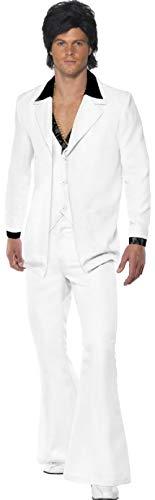 Mens 1970s Hotshot White Soul Train 3 Piece Suit Hippie Hippy Groovy Fancy Dress Costume Outfit -
