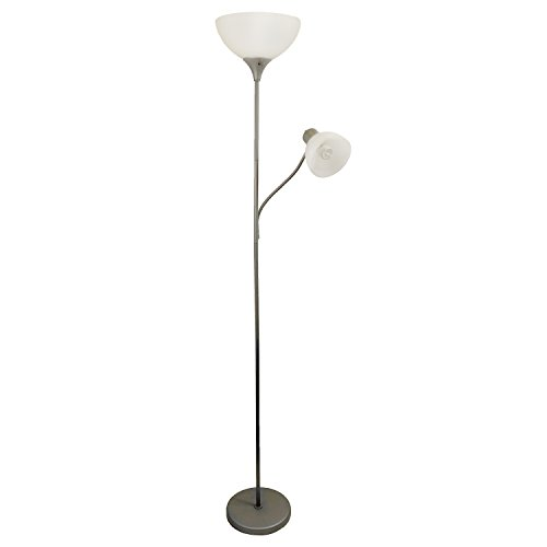 Simple Designs LF2000-SLV Floor Lamp with Reading Light, Silver