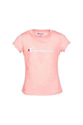 Champion Girls Heritage Long Sleeve Logo Tee Shirt (Small, Pink Bow) - Heritage Kids T-shirt