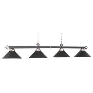 54 Inch 4 Bulb Leather Billiard Light in Black (Black) ()
