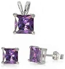 Princess Amethyst 925 Sterling Silver Earrings and Pendant Set Jewelry Accessories Key Chain Bracelet Necklace Pendants