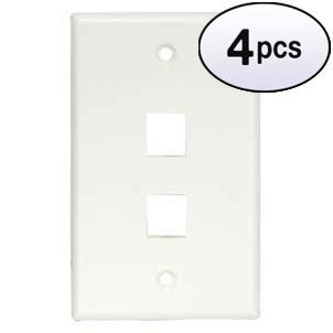 GOWOS (4 Pack) 2Port Keystone Wallplate White Smooth - Receptacle Duplex Acenti