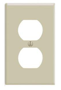 Leviton 86003 1-Gang Duplex Receptacle Wallplate, Standard Size, Thermoset, Device Mount-Ivory
