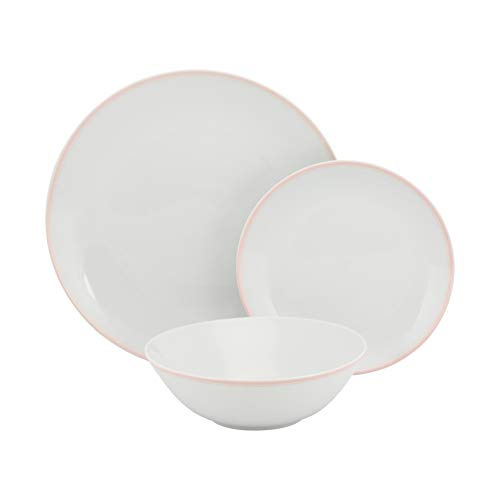 (10 Strawberry Street SM-1200-CP-P Coupe Double Line 12 Pc, Misty Pink Dinnerware Set, Rose)