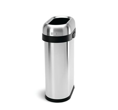 simplehuman Slim Open Can Stainless Steel, Brushed, 13 gallo