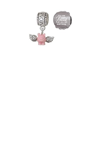 Pink Pig Charm - Mini Pink Flying Pig Mom Charm Bead with You Are More Loved Bead (Set of 2)