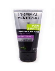 L'oreal Men Expert Pure & Matte Charcoal Black Scrub 100 Ml.