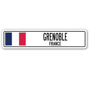 GRENOBLE, FRANCE Street Sign Sticker Decal Wall Window Door French flag city country road wall 8.25 x 2.0