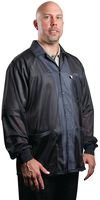 DESCO 73863 Nylon Fabric Black Statshield Smock Jacket with Knitted Cuffs, Large