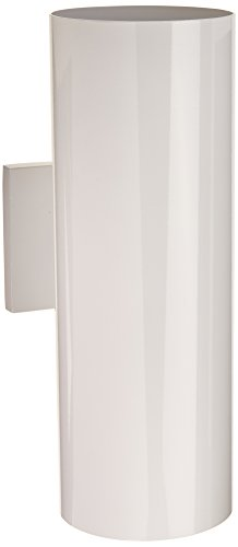 Sconce Brass Porcelain (Progress Lighting P5675-30 5-Inch Up/Down Cylinder with Heavy Duty Aluminum Construction and Die Cast Wall Bracket Powder Coated Finish UL Listed for Wet Locations, White)